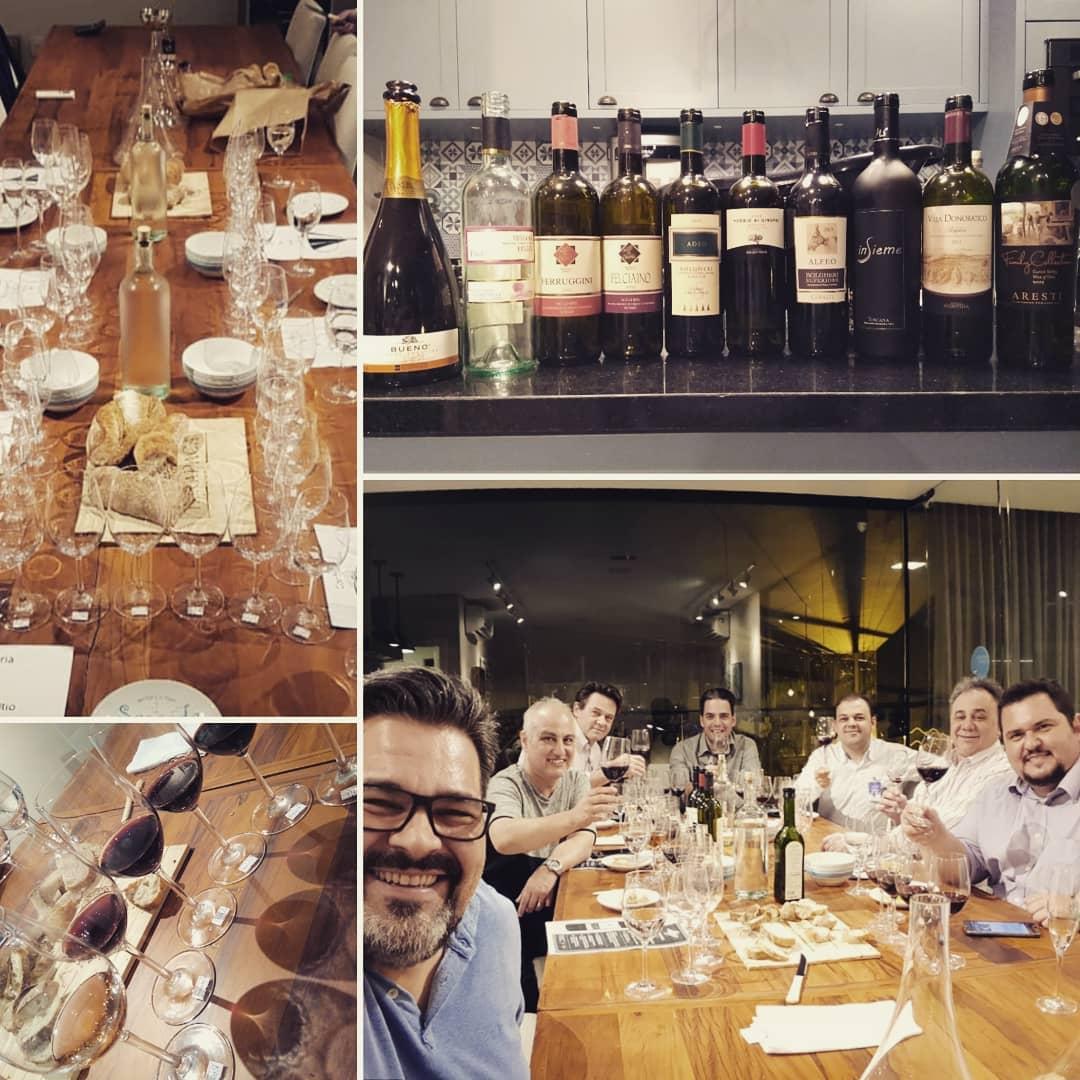 Noite incrível de Bolgheri na confraria com alguns profissionais e também com colegas apaixonados por vinhos